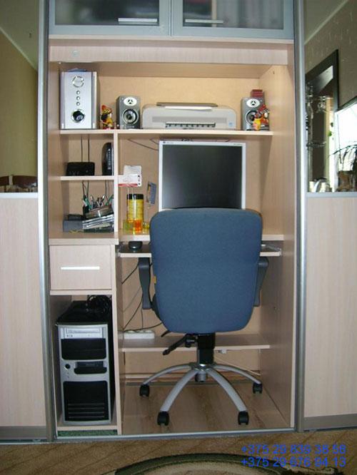 Встроенные компьютерные столы заказать в минске дешево: фото.